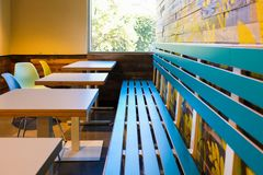 Cafe interior tables and bench royalty free stock image