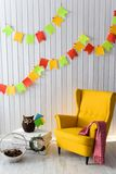 Interior of colorful unisex room for child. stock image