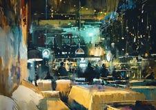 Interior colorido de la barra y del restaurante en la noche Fotos de archivo libres de regalías