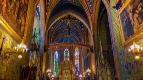 Interior colorido de St Francis da igreja de Assisi em Krakow imagens de stock royalty free