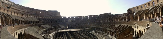 Interior of the Colosseum. Inside the Ancient Rome Colosseum Stock Photos