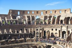 Interior of the Colosseum, Rome, Italy. Rome, Italy - 24 october 2018: ruin of interior of the Roman Colosseum Coliseum, Colosseo, also known as the Flavian stock images