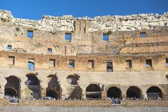 Interior of the Colosseum, Rome, Italy. Rome, Italy - 24 october 2018: ruin of interior of the Roman Colosseum Coliseum, Colosseo, also known as the Flavian royalty free stock images