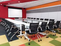 Interior of colourful meeting room in modern office, empty room royalty free stock photo