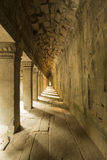 Interior with columns in the ancient temple of Angkor Wat, Cambo Royalty Free Stock Images