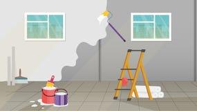 interior com as ferramentas da pintura e dos gastos de manutenção da parede ilustração royalty free