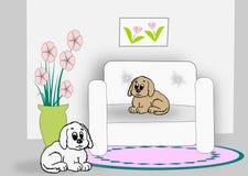 Interior com cães Fotos de Stock Royalty Free