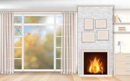 Interior com a chaminé do tijolo branco Foto de Stock Royalty Free