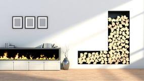 Interior com chaminé, um vaso e imagens vazias Fotografia de Stock