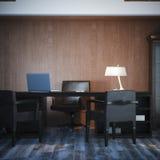 Interior com local de trabalho clássico rendição 3d Imagem de Stock Royalty Free