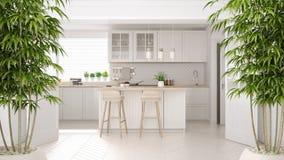 Interior com a planta de bambu em pasta, conceito do zen de design de interiores natural, cozinha clássica com detalhes de madeir ilustração stock