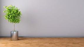 Interior com planta ilustração 3D Fotos de Stock Royalty Free