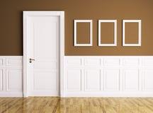 Interior com porta e quadros ilustração do vetor