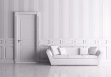 Interior com porta e sofá Fotos de Stock