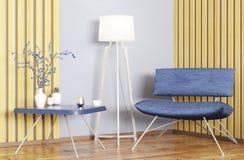 Interior com rendição da poltrona e da mesa de centro 3d Imagens de Stock Royalty Free