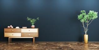 Interior com rendição de madeira do armário 3d Imagem de Stock Royalty Free