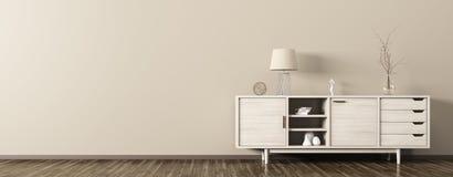 Interior com rendição de madeira do armário 3d Fotos de Stock
