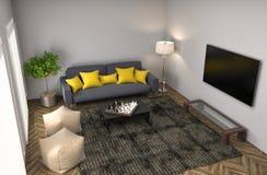 Interior com sofá ilustração 3D ilustração do vetor