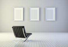 Interior com três frames e poltronas Imagem de Stock