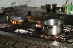 Interior comercial sucio de la cocina Foto de archivo libre de regalías
