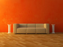 Interior - Comfortable sofa on red wall Stock Photos
