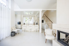 Interior of comfy living room. Interior of comfy and bright living room Stock Photos