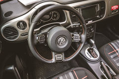 Interior of compact car Volkswagen Beetle Cabriolet, 2016. Stock Photos