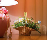 Interior composition. With flowers and a lamp Royalty Free Stock Photography