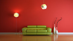 Interior composition. Red modern 3d interior composition Stock Images