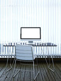Interior with computer and blinds on window stock photos