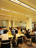 Interior of computer room. People surf net interior of computer room at shenzhen library, shenzhen city, china august 17, 2012 Stock Photos