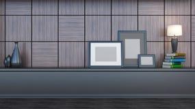 Interior con el ajuste de madera, las pinturas en blanco y la lámpara stock de ilustración