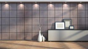 Interior con el ajuste de madera, las pinturas en blanco y los floreros Foto de archivo libre de regalías