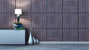 Interior con el ajuste, el florero y la lámpara de madera ilustración del vector