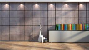 Interior con el ajuste, los libros y los floreros de madera Imagen de archivo