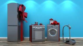 Interior con el grupo de aparatos electrodomésticos Imagen de archivo libre de regalías