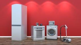 Interior con el grupo de aparatos electrodomésticos Imagen de archivo