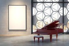 Interior con el piano y la cartelera Fotos de archivo libres de regalías