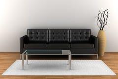 Interior con el sofá de cuero negro Fotos de archivo
