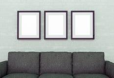 Interior con el sofá ilustración 3D Imágenes de archivo libres de regalías