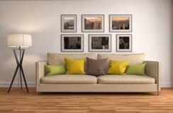 Interior con el sofá ilustración 3D Fotografía de archivo