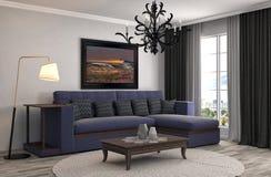 Interior con el sofá ilustración 3D Imagen de archivo libre de regalías