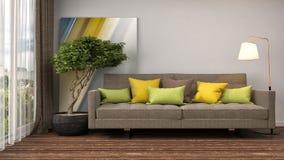 Interior con el sofá ilustración 3D Fotos de archivo