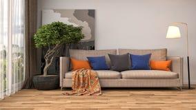 Interior con el sofá ilustración 3D Foto de archivo