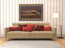 Interior con el sofá ilustración 3D Imagen de archivo