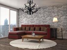 Interior con el sofá ilustración 3D Imagenes de archivo