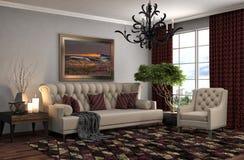 Interior con el sofá ilustración 3D Foto de archivo libre de regalías