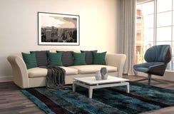 Interior con el sofá ilustración 3D Fotografía de archivo libre de regalías