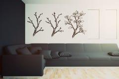 Interior con el sofá negro y los árboles exhaustos ilustración del vector
