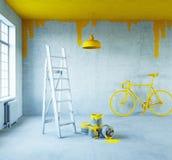 Interior con el techo pintado Foto de archivo libre de regalías